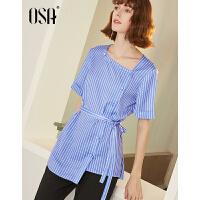 【3件6.5折】OSA欧莎2019夏装新款女装 O气质条纹时尚不对称收腰短袖衬衫