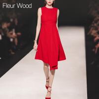 FLEUR WOOD2017秋季新款女装欧美修身收腰显瘦红色圆领无袖连衣裙