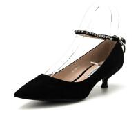 迪芙斯(D:FUSE)专柜同款绒面羊皮革细跟尖头时尚单鞋DF82111355