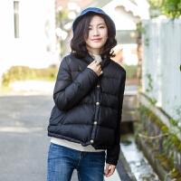 羽绒服女短款轻薄立领冬季新款时尚白鸭绒纯色文艺日系外套潮