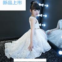 晚礼服女童公主裙蓬蓬婚纱走秀白色小主持人花童秋钢琴演出服
