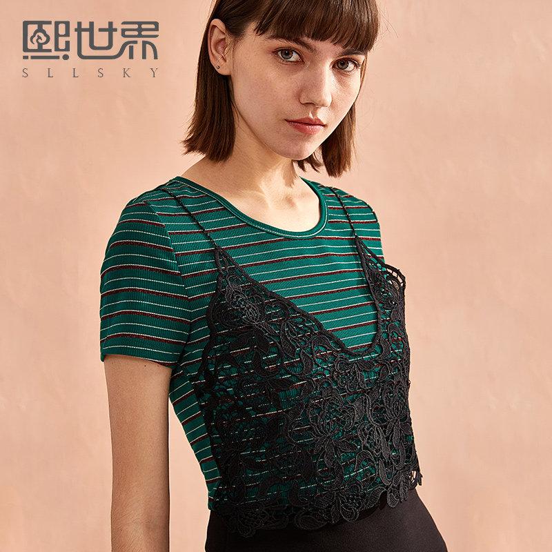 熙世界短袖女2018新款圆领拼接蕾丝小吊带条纹T恤上衣女 112ST043