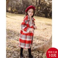 女童呢子外套秋冬2018新款洋气儿童毛呢大衣女宝宝格子童装单排扣 红灰格子