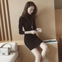 韩版秋冬季修身加厚套头高领毛衣女士中长款针织连衣裙包臀打底衫