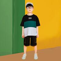 木木屋儿童套装2021夏季新款帅气潮流男童中大童拼接短袖短裤两件套