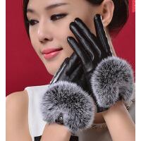 秋冬加棉加绒时尚可爱韩版款兔毛皮手套女士修手型触手套