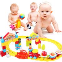 电动轨道火车拼插益智大块积木儿童宝宝益智玩具车1-2-3-5岁