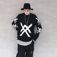 新款男士��性�A�I潮流��性毛衣外套��松�n版秋冬季套�^蝙蝠��衫