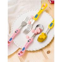 日本泰福高韩国进口小猪佩奇儿童餐具套装304不锈钢勺子叉子