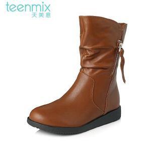 Teenmix/天美意专柜同款小牛皮女皮靴6US66DZ5