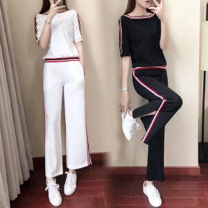 安妮纯阔腿裤运动套装女2019春夏新款时尚宽松短袖长裤跑步服休闲两件套