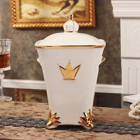欧式桌面垃圾桶带盖客厅家用卫生间创意小垃圾桶陶瓷收纳桶 白色鎏金 白色鎏金