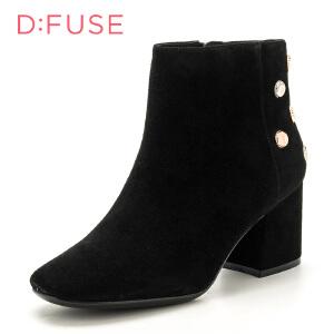迪芙斯(D:FUSE) 商场专柜同款绒面羊皮革方跟尖头正装粗跟短靴女靴DF74116053