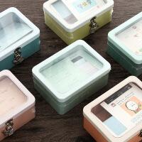 韩国文具 生活系列马口铁带锁收纳盒 同学录带锁收纳盒 整理箱