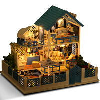 diy小屋别墅手工制作小房子模型拼装男女孩玩具创意生日礼物 +防尘