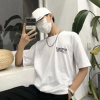 韩国INS同款复古红蓝波浪简约字母印花打底短袖T恤