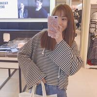 春装女装韩版个性破洞条纹短款套头卫衣抽绳连帽T恤学生上衣外套
