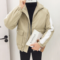 冬季潮男加厚棉衣韩版新款撞色印花男士连帽学生外套青少年潮