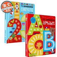 数学和英语字母启蒙书籍2本套装 英文原版童书 My Awesome Alphabet Book + My Awesome Counting Book 【美国进口幼儿趣味认知绘本读物、立体启蒙书】