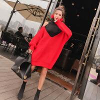 冬季新款韩版高领套头露肩假两件撞色针织毛衣中长款连衣裙潮
