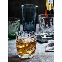 玻璃杯果汁杯透明水杯套装家用彩色耐热杯子