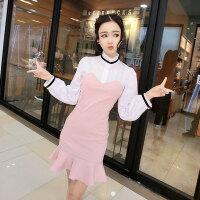 白领丽人连衣裙潮 2018夏季新款优雅气质拼色鱼尾裙显瘦包臀裙女