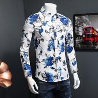 秋季薄款花衬衫男长袖 韩版 青年男士加大码修身碎花印花衬衣