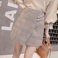 2018春季新款韩版女装格子不规则半身裙防走光包臀裙A字裙短裙