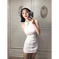 2018春夏新款韩版时尚女装无袖纯色修身显瘦露肩翻领包臀连衣裙潮 均码
