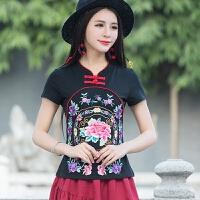 民族风女装夏装新款 中国风绣花T恤女修身刺绣上衣立领打底衫