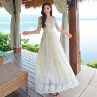 文艺复古定位刺绣花朵蕾丝连衣裙 女神修身气质显瘦宫廷仙女长裙
