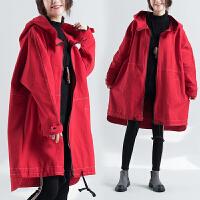 风衣女中长款秋冬装新款连帽显瘦胖mm大码女装拉链开衫外套潮