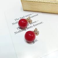 -红色珍珠耳环气质简约几何镶钻耳钉百搭圣诞节耳饰女耳坠