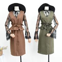 【1.3斤】03春季韩版新品纯色后中拉链修身V领无袖连衣裙