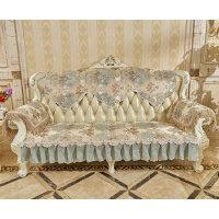 欧式复古沙发坐垫 靠背巾 扶手巾 绣花沙发垫子布艺 冬季 防滑 湖蓝色 温莎蓝