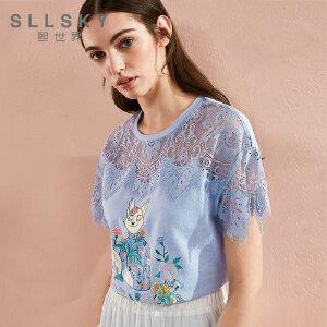 熙世界2018夏季新款雪纺蕾丝拼接印花短袖t恤女白色上衣112ST091