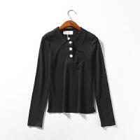 D¥3 女装2018秋季韩版POLO领单排扣针织衫上衣