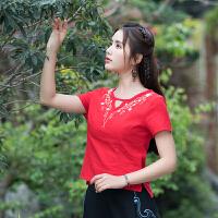 中国风女装上衣 夏装新款 民族风修身显瘦短袖棉麻修身半袖T恤女