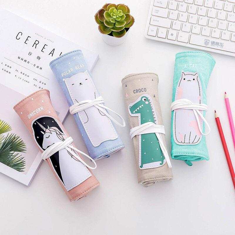 文具盒笔袋创意学生文具韩国小清新可爱动物卷卷棉麻笔袋简约铅笔袋