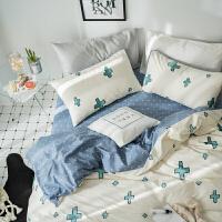 小清新全棉卡通可爱三件套 北欧风简约棉被套床单床上四件套