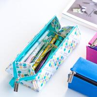对开式帆布笔袋多功能大容量学生用文具袋男女生笔盒创意可爱小清新铅笔袋初中简约高中生收纳包