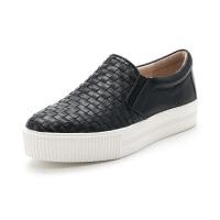 星期六(ST&SAT)秋季牛皮革平底休闲乐福鞋SS83112353 黑色