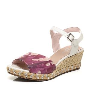 BATA/拔佳夏季专柜同款坡跟女凉鞋纯凉鞋AL206BL6