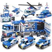 军事拼装积木儿童组装玩具车城市警察系列周岁9-12岁男孩子