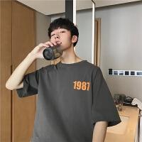 潮流t恤男夏季简约印花短袖韩版学生休闲T恤日系潮牌圆领宽松体恤