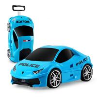 儿童拉杆箱旅游箱行李箱卡通汽车拖拉收纳箱男女宝宝小孩玩具礼物 蓝色 DIY