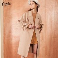 【开门红 2件2.5折到手价:597】拉夏贝尔全羊毛毛呢外套女士冬季新款宽松高腰外衣双面呢长款呢子大衣