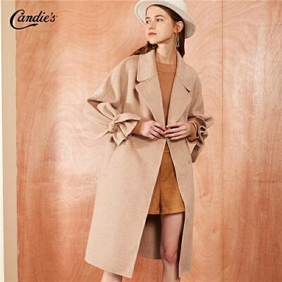 拉夏贝尔全羊毛毛呢外套女士冬季新款宽松高腰外衣双面呢长款呢子大衣
