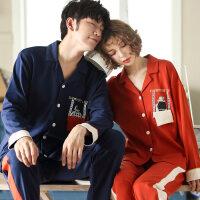 韩版情侣睡衣长袖纯棉春秋季薄款全棉睡衣女款男士夏季家居服套装