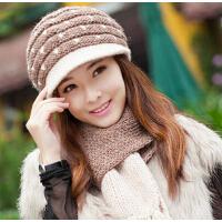 冬季帽子 女 韩版女羊毛冬天女士可爱 潮毛线帽子 围巾两件套装